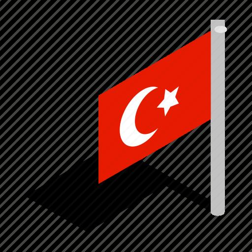 flag, isometric, national, red, sky, turkey, turkish icon