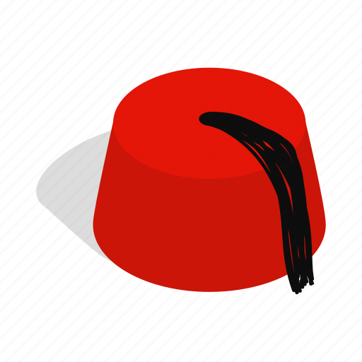 cap, hat, isometric, red, traditional, turkey, turkish icon