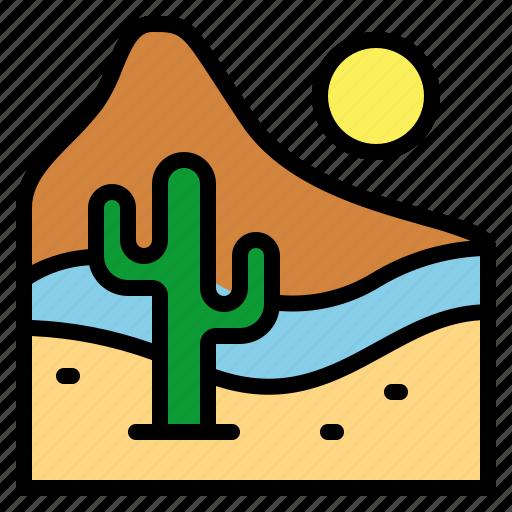 desert, landscape, nature, sun icon