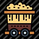 construction, gold, mine, train icon