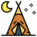 holidays, nature, tent, travel icon