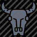 buffalo, bull, decoration, skull, wall