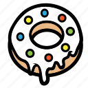chocolate, cream, donut, doughnut, melt, strawberry icon