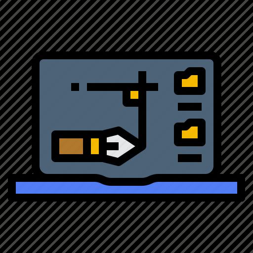 create, design, edit, laptop icon