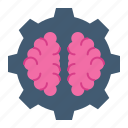brain, creative, gear, process icon