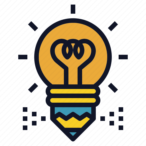 bulb, creative, idea, light, pencil, writing icon