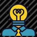 bulb, creative, idea, light, person, thinker