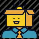 avatar, box, creative, man, thinking
