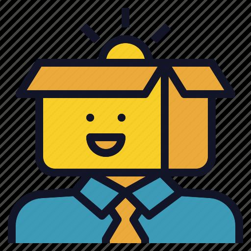 avatar, box, creative, man, thinking icon
