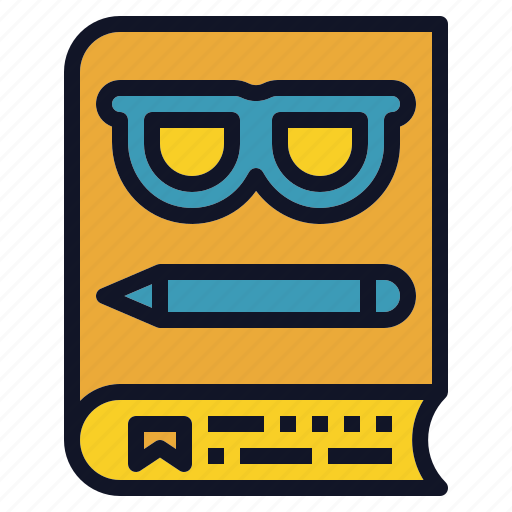 book, education, glasses, pencil, reader icon