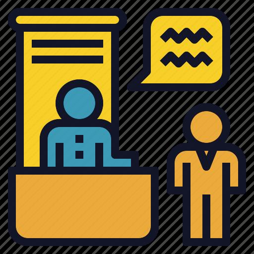 desk, information, office, registration icon