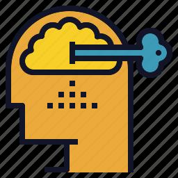 key, mind, performance, power, unlock icon