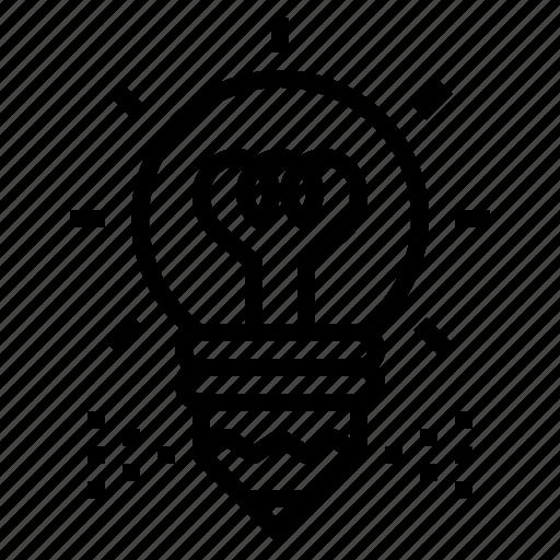 bulb, creative, idea, light, pencil, writing icon