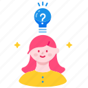 creative, curiosity, curious, idea, learning, question, thinking icon