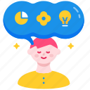 creative, idea, imagination, knowledge, thinking, visual, visualization icon