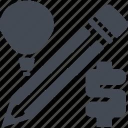 bulb, creative process, idea, pencil icon