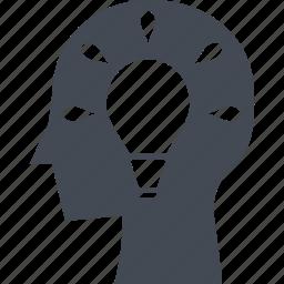 creative process, head, idea, illumination icon