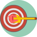 define the goal, mission, target icon