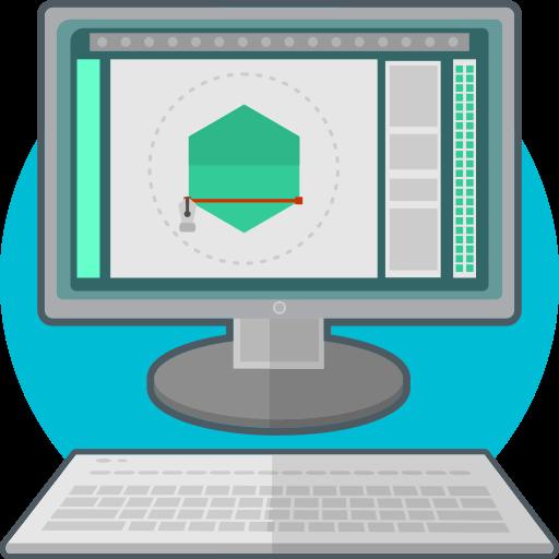 computer, design, digital, logo icon