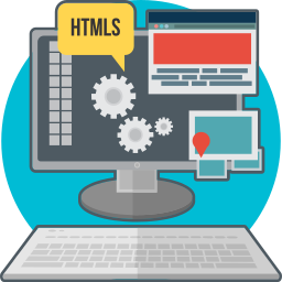 code, computer, creative, html, process, technology, web development icon