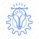 bulb, gear, idea, technology icon
