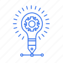 bulb, gear, idea, setting icon