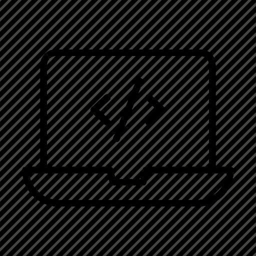coding, creative, development, laptop, programming icon