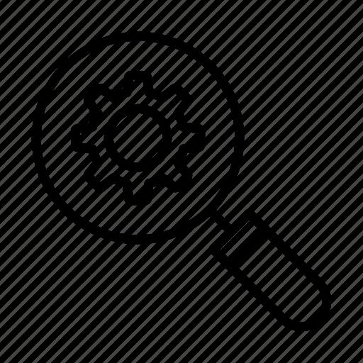 creative, gear, magnifier, search, setting icon