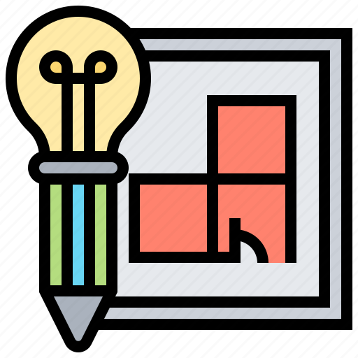 blueprint, draft, drawing, model, software icon
