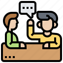 brainstorming, consult, conversation, discussion, meeting icon