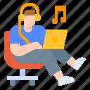 freetime, laptop, listen, music, relax icon