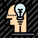 creative, idea, man, process