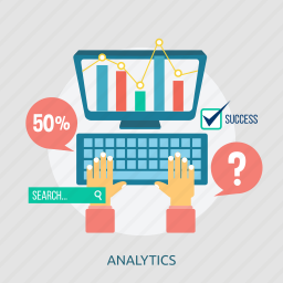 analytics, chart, computer, keyboard, screen, search, success icon