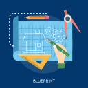 art, blueprint, home, paper, pen, ruler, size icon