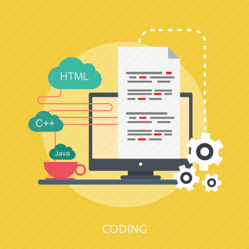 code, coding, html, java, monitor, process, screen icon