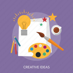 brush, coffee, creative, energy, idea, paper, star icon