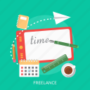 book, coffee, deadline, freelance, ruler, screen, time icon