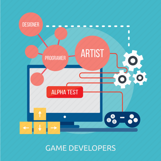 artist, designer, developers, game, programer, screen, tester icon