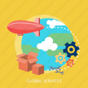 balloon plane, box, cube, earth, global, process, services icon