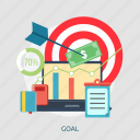 arrow, book, chart, document, goal, money, screen icon