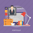 bag, man, monitor, portfolio, profile, rank, star icon