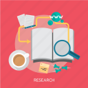 book, coffee, data, paper, pen, research, website icon