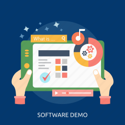 demo, play, process, screen, searching, software, success icon