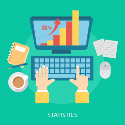 book, chart, keyboard, mouse, paper, screen, statistics icon
