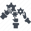 arms, creativ team, gears, job, process icon
