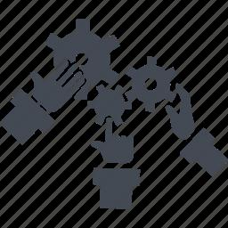 arms, creativ team, gears, job, process icon