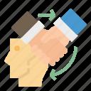 agree, agreement, hand, handshake, head icon