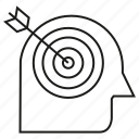arrow, dart, focus, head, human icon