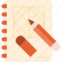 book, creative, design, pencil, process, sketch, tool icon
