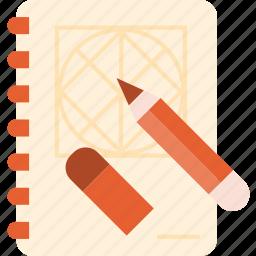 book, creative, design, pencil, process, sketch, tool icon